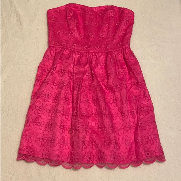 Lilly Pulitzer Dresses & Skirts - Lily Pulitzer hot pink floral strapless dress 8